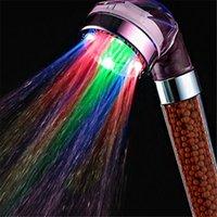 chuveiros iluminados venda por atacado-Poupança de água Colorido LED Light Bath Showerhead Anion SPA Hand Held Banheiro Cabeça de Chuveiro Bico Filtro de Mão Segurar o Chuveiro