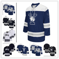 Wholesale Custom Yale Bulldogs Colosseum Hockey Jersey Stitching Hight Quality Custom Any Name Number Hockey Jerseys