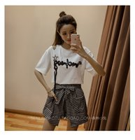 кистовидные футболки оптовых-Shoulder Hollow Out Sequins Letter Design Tassel TShirts+Grid Sashes Pockets Shorts 2-pieces Sets Youthful Beautiful Clothes