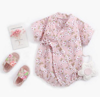 Wholesale flower rompers for sale - Group buy Baby Kids designer clothes romper Summer Short Sleeve Cartoon Flower Print Romper Clothes cotton girl kid rompers T