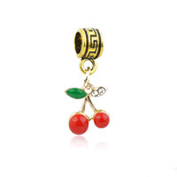 Wholesale enamel cherry for sale - Group buy Funny Gold Enamel Pendants Fits Charms Bracelets Red Cherry Alloy Thread Beads DIY Necklace Jewelry Accessories