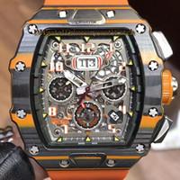 relógio da semana venda por atacado-TOP RM11-03 Big Data esqueleto Dial Timing semana 24 horas Mens Automatic Watch RM 11-03 caixa de fibra de carbono Rubber Strap Racing Series Relógios