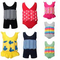 schwimmender anzug großhandel-Kinder Striped Dot Strandbadebekleidung Sommer Seaside Schwimm Badeanzug Bikini Cartoon Kinder Badeanzug Einteiler mit Auftrieb TTA698