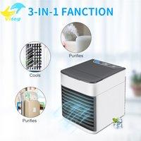 tragbare hausklimaanlagen großhandel-Mini tragbare USB-Klimaanlage 3 Geschwindigkeiten Luftbefeuchter Luftreiniger mit LED-Licht Luftkühler Lüfter für Home Office