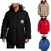 Wholesale white animal hood online – oversize Canada Down Coat Warm Manteau Fur Hooded Thick Winter Men Down Jacket Male Chaquetas Overcoat Man Outwear Parka LJJA2697
