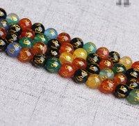 achat produkte großhandel-Natürlicher Kristall Bunter Achat Bronzing Sechs-Wort Mantra lose Perlen Halbzeuge Perlen 8mm