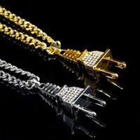 Wholesale plug pendant for sale - Group buy Gold Chain Cuban Link Neacklace Men Iced Out Jewelry Bling Plug Necklace Micro Pave Rhinestone Hip Hop Jewelry