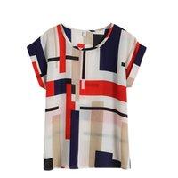 batwing gevşek bluz kısa toptan satış-Çiçek Baskılı Gevşek Batwing Sleeve Bayan Tops Ve Bluzlar O Boyun Rahat Kısa Bluz Kadın Şifon Gömlek Femme Artı Boyutu 4XL