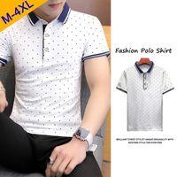 белые рубашки поло оптовых-On Sale Polka Dot  Shirt Men White Summer Short Sleeve Cotton Men  Male Quality Classic  Clothing Fast Dry Top Tees