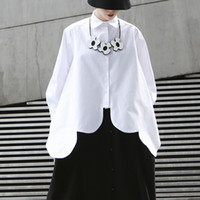 ingrosso camicia asimmetrica del bordo-Camicetta bianca irregolare Camicetta Donna bavero collo manica lunga orlo asimmetrico Top donna 2019 moda streetwear