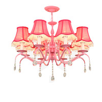 rosa mädchen lampe großhandel-Moderne rosa kristall kronleuchter prinzessin mädchen zimmer kinder pendelleuchte retro garten bar schlafzimmer hauptbeleuchtung g972