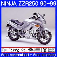 1992 kawasaki ninja verkleidungen großhandel-Karosserie für KAWASAKI NINJA ZZR-250 ZZR250 90 91 92 93 94 99 251HM.23 ZZR250R ZZR 250 1990 1992 1992 1994 1994 1994 GLossy Silver Fairings