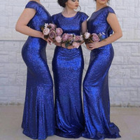 Wholesale sexy open back wedding dresses online - 2019 Cheap Sexy Royal Blue Sequins Bridesmaid Dresses For Wedding Jewel Neck Short Sleeve Open Back Arabic Maid of Honor Wedding Guest Gowns