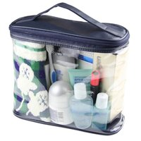большие мешки с застежкой из пвх оптовых-Unisex Organizer Handbag Large Capacity Travel Cosmetic Transparent Zipper Bath Toiletry Makeup Bag Wash Storage PVC