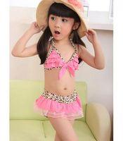 7fdfb490db9ee Free Shipping Lovely Baby Toddler Girls Swimwear Leopard Bikini Kids Child  Swimsuit 5 Sizes B1135-B1139