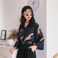 sevimli yaz stilleri toptan satış-Bluzlar kadın Giysileri Japonya Kawaii Bayanlar Yaz Tarzı Vintage Vinç Bluz Kadın Kadınlar Için Punk Harajuku Sevimli Tunik