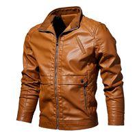 veste courte en cuir marron homme achat en gros de-Au printemps 2019, nouvelle veste de col en cuir en cuir PU pour hommes avec loisirs