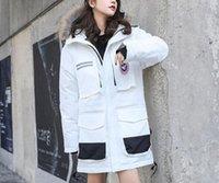 jaqueta militar das mulheres brancas venda por atacado-2018 nova jaqueta de homens e mulheres no longo branco eiderdown tamanho grande casal casaco militar ganso