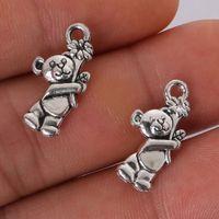 антикварный медведь подвеска оптовых-Penny 12pcs 19x10MM Antique Silver Alloy Cute Bear Charms Pendant Jewelry Findings Jewelry Making DIY Accessories Bag Decoration