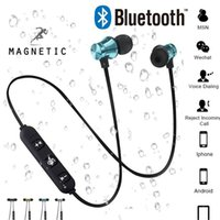 ingrosso cuffie costruite mic-Attrazione magnetica Auricolare Bluetooth Sport impermeabile Mini Cuffia 4.2 con cavo di ricarica Moda Giovani auricolari Microfono incorporato