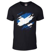 ingrosso bandiere scozia-Maglietta strappata della bandierina della Scozia - Maglietta divertente paese sport scozzese di modo freddo Maglietta divertente di estate degli uomini della maglietta di marca divertente Top