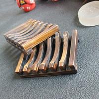 jabón vintage al por mayor-Jabonera de madera vintage Jabonera de madera Soporte para bandeja Bandeja de almacenamiento de jabón Caja de plato Contenedor para baño Plato de ducha Baño 10pcs