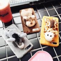 tampas do telefone do macaco venda por atacado-Casos de telefone celular macaco burro bonito designer de pelúcia recheado toys phone case capa para xs max xr 78 plus
