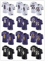 фиолетовый молодежный футбол трикотажные изделия оптовых-Мужская женская молодежь Балтимор 8 Ламар Джексон 9 Джастин Такер 55 Террелл Сагс черный белый фиолетовый пользовательские вороны футбольные майки