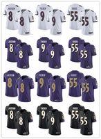 camisas de futebol da juventude roxas venda por atacado-Juventude das mulheres dos homens 8 de Baltimore Lamar Jackson 9 Justin Tucker 55 Terrell Suggs preto branco roxo Custom Ravens camisas de futebol