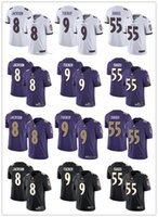 lila jugendfußball jerseys großhandel-Männer Frauen Jugend Baltimore 8 Lamar Jackson 9 Justin Tucker 55 Terrell Suggs Schwarz Weiß Lila Benutzerdefinierte Ravens Fußballtrikots