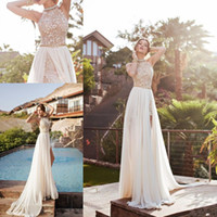 Wholesale sexy blue beach wedding dresses for sale - Group buy 2020 New Arrival Summer Beach Boho Wedding Dresses Cheap Halter Neck Backless Floor Length High Side Split Bridal Gowns