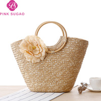 ingrosso progettista della borsa di paglia-Borsa da donna di design sugao rosa borse borse donna borsa a mano fiore spiaggia borsa 2019 nuova moda borse di paglia fabbrica wholsales tote bag