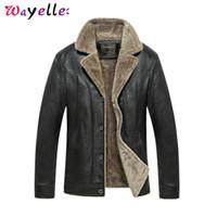 Wholesale plus moto jacket resale online - Mens Faux Fur Coats and Jacket Winter Motorcycle PU Leather Jacket Men Fleece Warm Chaqueta Moto Hombre Jackets Plus Size XL