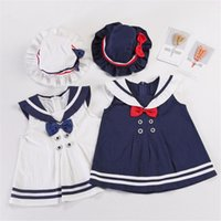 lacivert tarzı bebek elbiseleri toptan satış-100% Pamuk Şapka Ile Bebek Kız Elbise Donanma / Tiki Tarzı Bebek Kız Yaz Giysileri Set Bebek Sailor Girl Elbise Y19061303