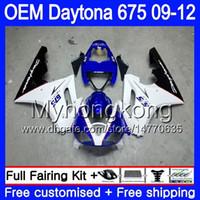 triunfo 675 carenagem branca azul venda por atacado-Injecção For Triumph Daytona 675 branco azul quente 09 10 11 12 Carroçaria 323HM.6 Daytona-675 Daytona675 Daytona 675 2009 2010 2011 2012 Carenagem