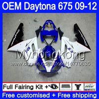triumph 675 carénage bleu blanc achat en gros de-Injection Pour Triumph Daytona 675 blanc bleu chaud 09 10 11 12 Carrosserie 323HM.6 Daytona-675 Daytona675 Daytona 675 2009 2010 2011 2012 Carénage