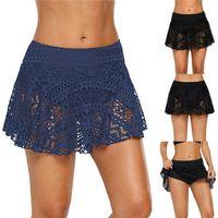 falda corta pantalones al por mayor-Ropa interior atractiva y cómoda para mujer Bañador Bikini Shorts Mujer Encaje Crochet Falda Bikini Pantalones de playa con fondo # 2N06
