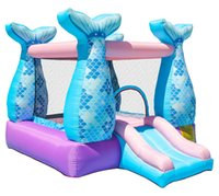 casa de juego inflable al por mayor-Play House Inflatable Mermaid Bouncy Castle House con soplador de aire para fiesta de niños