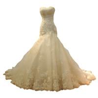 hermoso vestido delgado al por mayor-Vestidos de novia de sirena 2019 nuevo elegante solo hermoso vestido delgado de encaje delgado estilo sexy cola de pescado arrastre vestido de novia