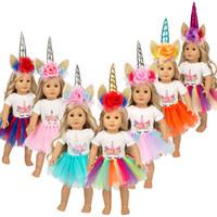 nuevos estilos de vestido americano al por mayor-2019 Nuevo estilo Rainbow Unicorn Headband Dress Colorido Pettiskirt Vestido de fiesta 18 pulgadas American girl cumpleaños princesa vestido de muñeca ropa