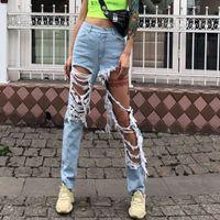jeans frauen größe 33 großhandel-Denim-Hose für Frauen hohe Taille zerrissene Loch Troddeljeans weibliche große Größe Streetwear Mode 2019 Spring Tide