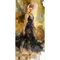 ingrosso petali di tela di olio dipinti donne-Danza Dipinti donna Ballerina Lady dipinta a mano figura arte olio su tela regalo