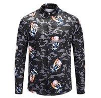 ingrosso moda giovani uomini neri-La versione coreana dei giovani della personalità speciale boutique di moda primavera e autunno camouflage nero stampato camicia testa di cane / M-2xl