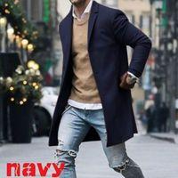 diseño de oficina de traje al por mayor-Nuevo diseño de traje de mezcla de algodón de los hombres abrigo de los hombres diseño de la gabardina ocasional Slim Fit traje de la oficina chaquetas envío