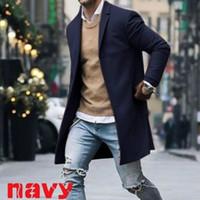 ingrosso vestiti casuali sottili in cotone-Nuovi uomini in misto cotone Suit Design Warm Coat Uomo Casual Trench Coat Design Slim Fit Giacche Suit ufficio Drop Shipping