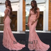 Wholesale greens arabic evening dresses resale online - Beads Appliqued Elegant Mermaid Evening Dresses Off the Shoulder Pink Lace Long Arabic Prom Dress Plus Size Formal Party Gowns Sweep Train