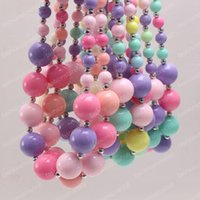 Wholesale kids chunky beads necklace resale online - New Arrivel Rainbow Color Candy Acrylic Kid Chunky Beads Necklace Fashion Bubblegume Bead Chunky Necklace Jewelry Baby Kid Girl