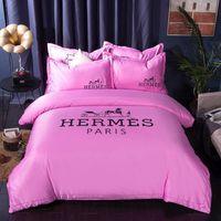 juego de cama de lujo rosa rosa al por mayor-Rosa rosa carta juegos de fundas de cama de lujo 4 unids bolsa de ropa de cama de algodón traje de Europa y América habitación de la mujer edredón traje