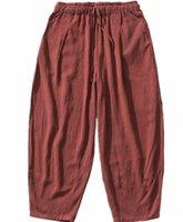 pantalon en lin noir hommes achat en gros de-2019 hommes de marque Autunm Casual Harem Pants Hommes Pantalon Jogger Hommes Coton lin Pantalon plus la taille M- 6XL 7XL NOIR GRIS BLEU