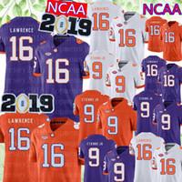 jerseys clemson al por mayor-2019 NCAA Clemson Tigers 16 Trevor Lawrence Jersey Hombres 9 Travis Etienne Jr. Camisetas de fútbol de la universidad Ventas baratas Parche de campeonato